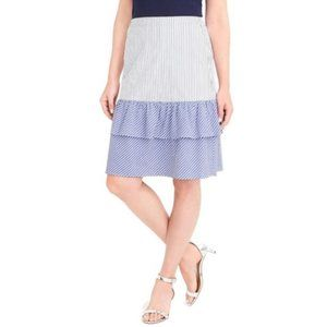J. Crew Cocktail Stripe Tiered Ruffle Midi Skirt